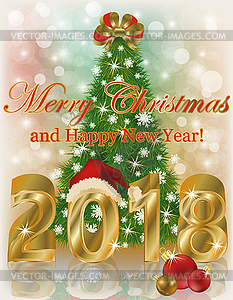 Merry Christmas and Happy new year 2018 card, vector.
