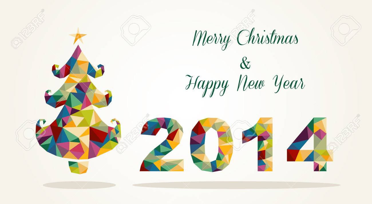 Merry Christmas and Happy New Year 2014 contemporary colorful...