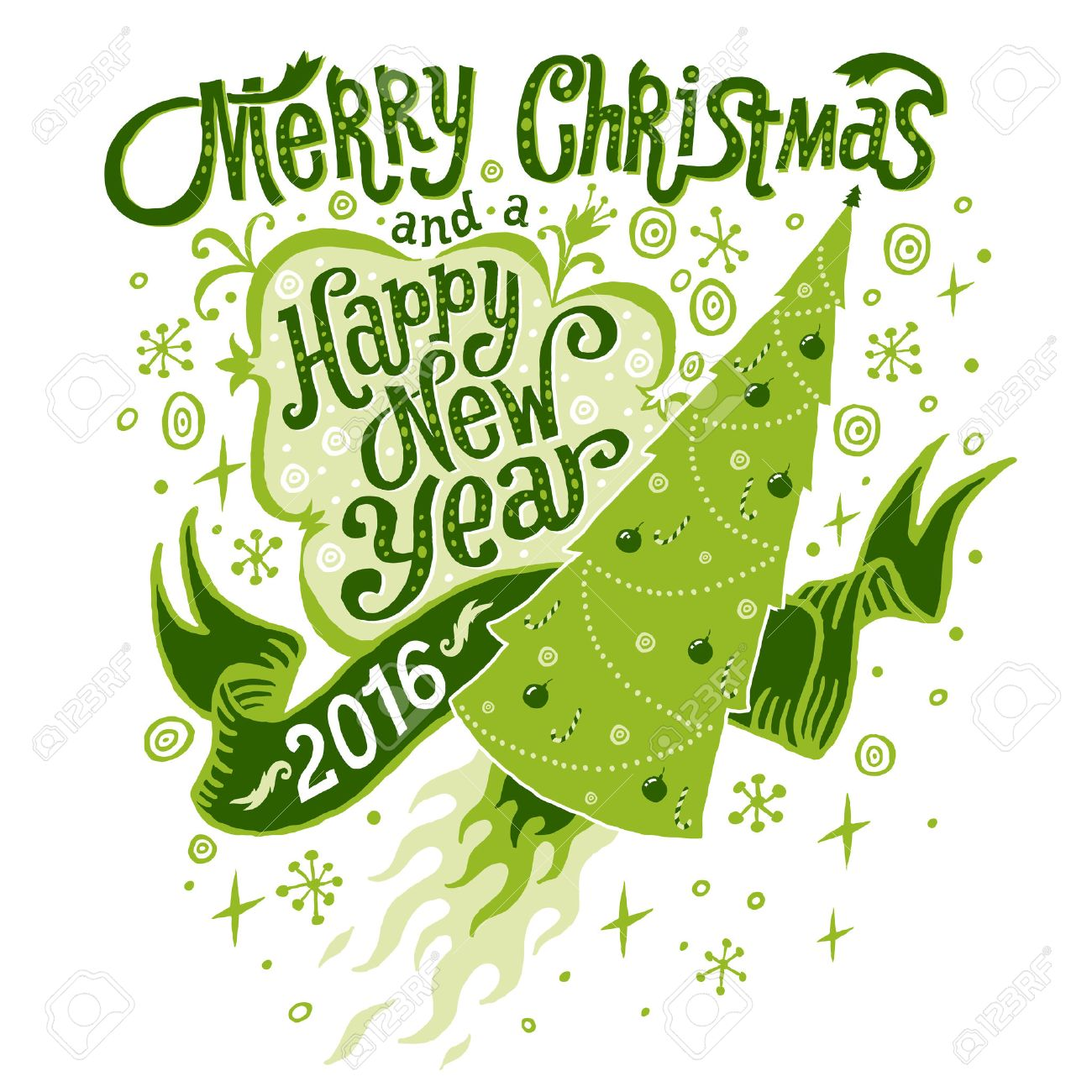 Merry Christmas and Happy New Year 2016 Greeting card, isolated...