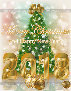 Merry Christmas and Happy new 2018 year golden banner.