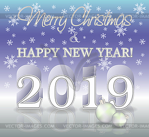 Merry Christmas And Happy New Year 2019 Clipart.