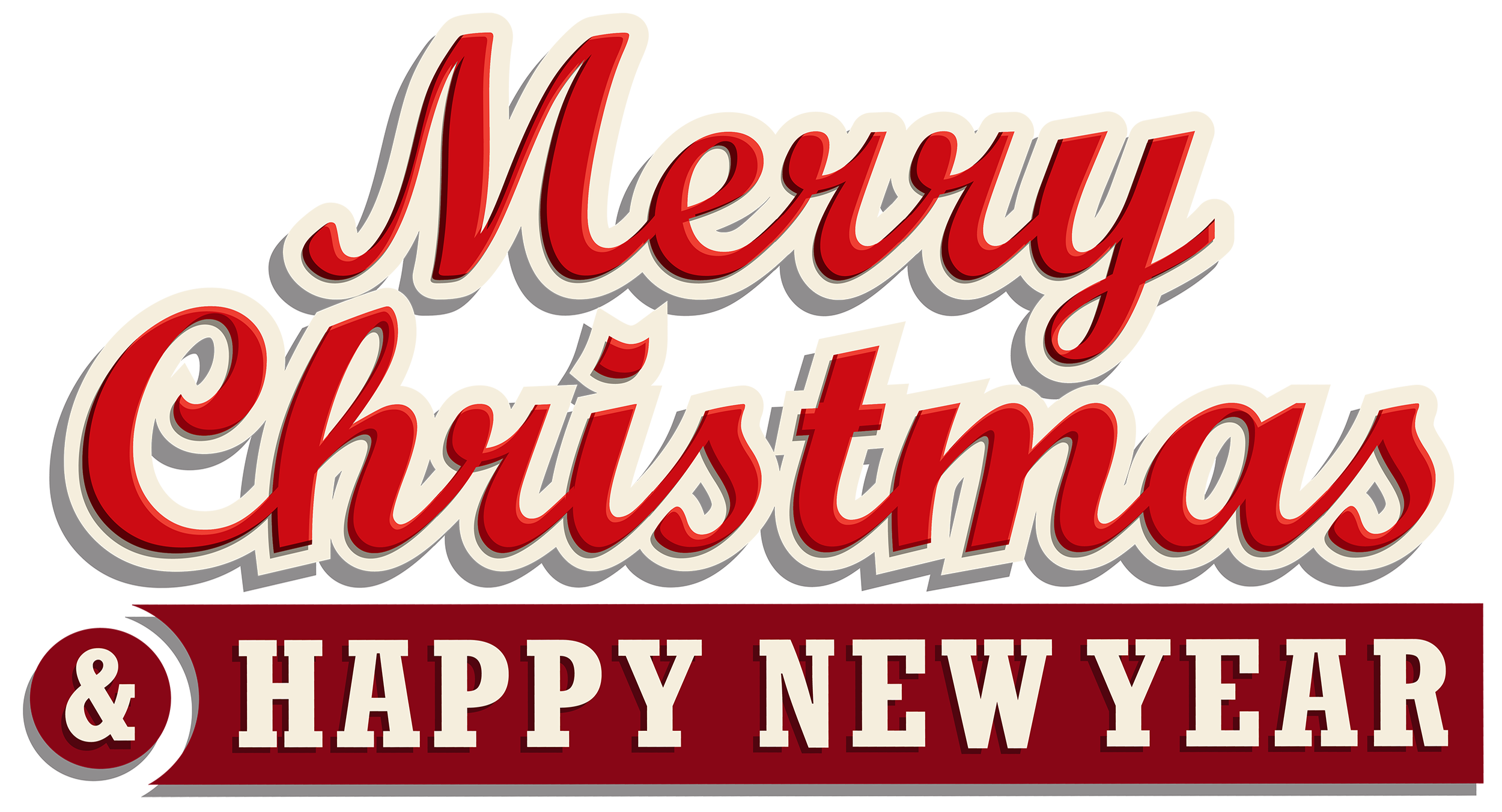 Merry Christmas And Happy New Year Banner Clipart.