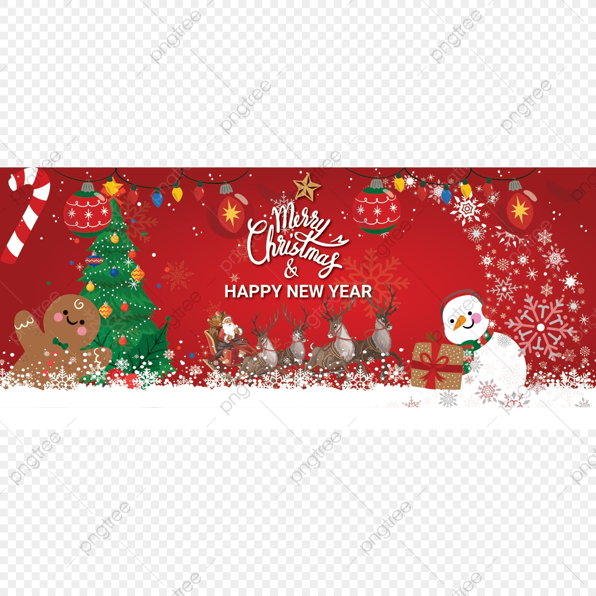 Banner Merry Christmas, Merry Christmas, Happy New Year PNG.