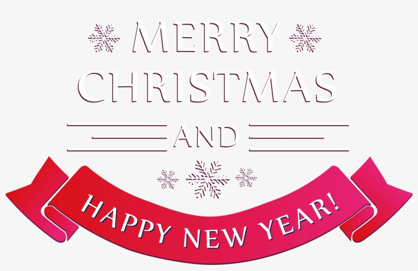 Merry Christmas And Happy New Year Text Png With Years.