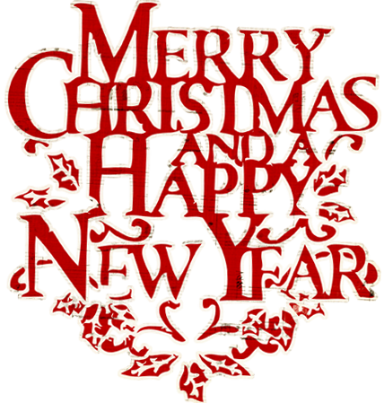 Merry Christmas And Happy New Year Lettering Png Vector.