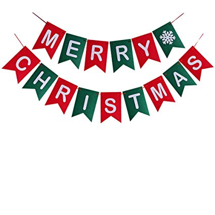 Merry Christmas Banner Christmas Party Garland Bunting Sign for Holiday  Party Decoration Favors.