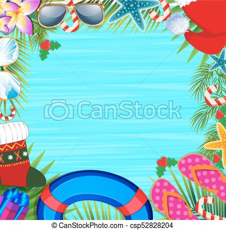 Christmas beach frame with copy space..