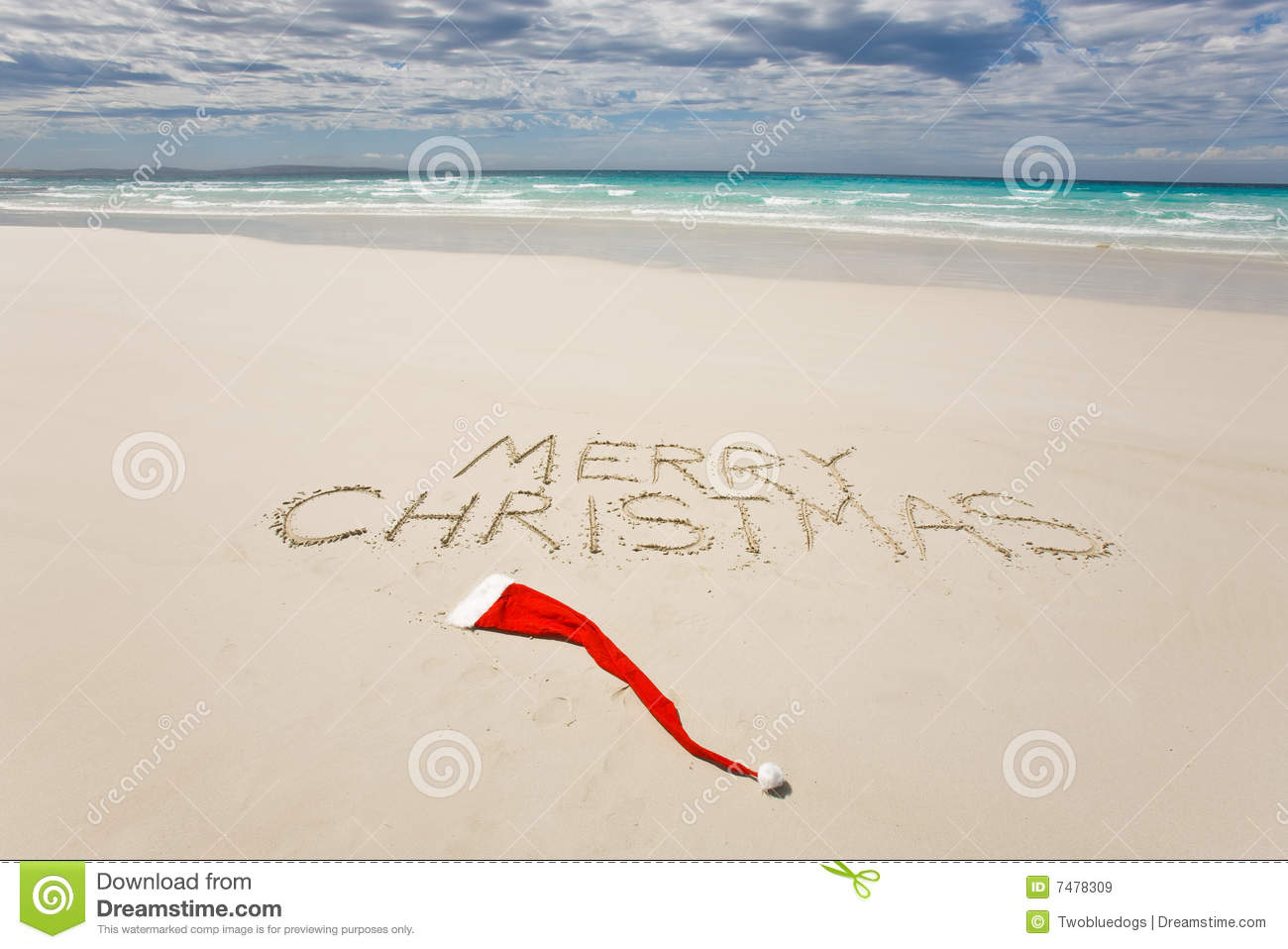 Merry Christmas Written On A Tropical Beach Stock Image.