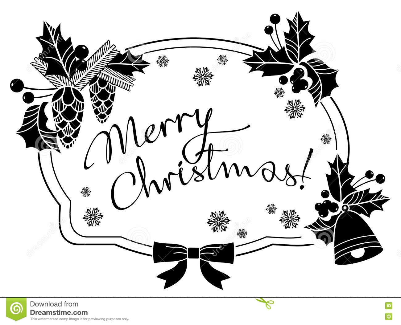 Christmas Label With Written Greeting Merry Christmas.