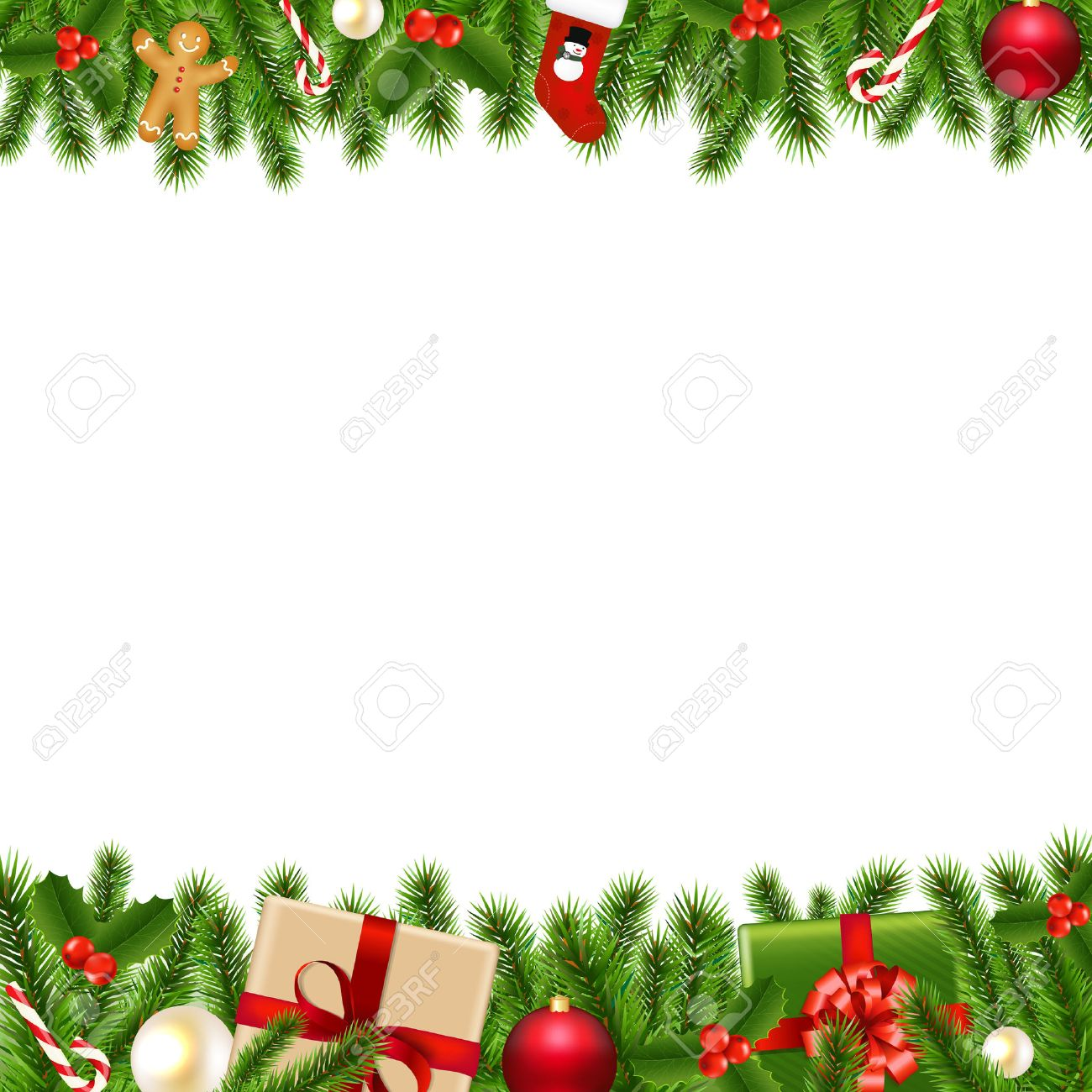 Merry Christmas Borders With Gradient Mesh, Vector Illustration.