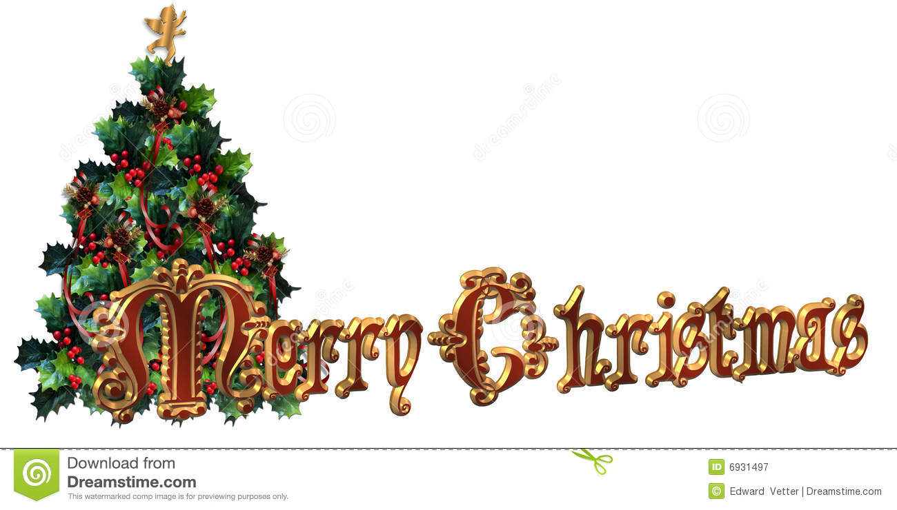 Merry Christmas Label Design 3D Text Stock Illustration.