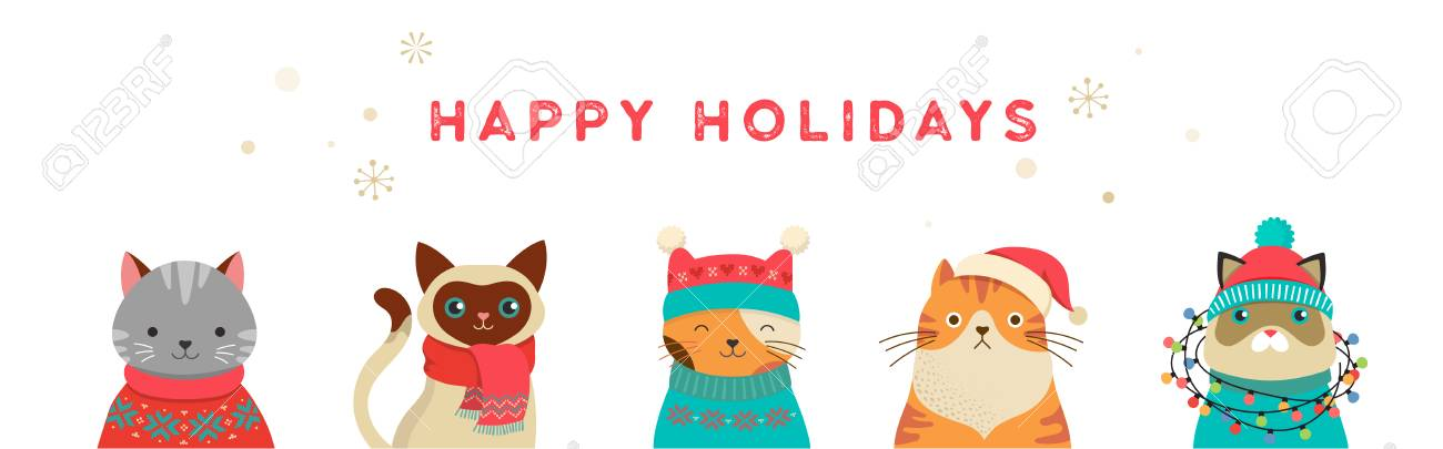 Collection of Christmas cats, Merry Christmas illustrations of...