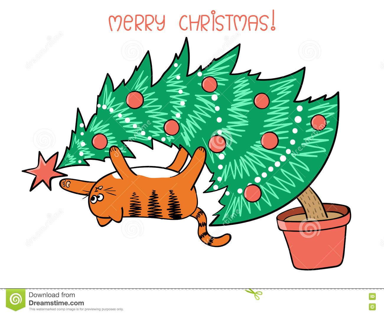 Merry Christmas Card Design. Cute Cat On Christmas Tree.