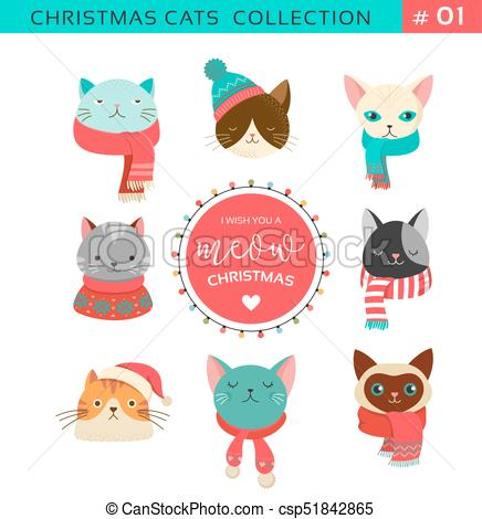 Merry Christmas greetings with cute cats characters, vector collection.