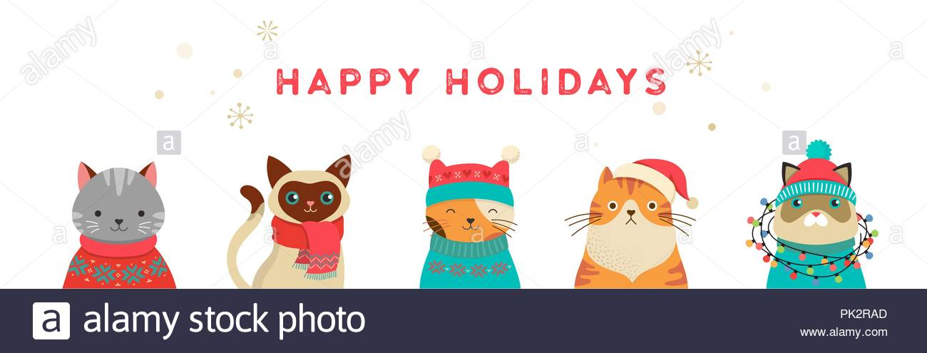 Merry Christmas greeting card and banner with cute cats.