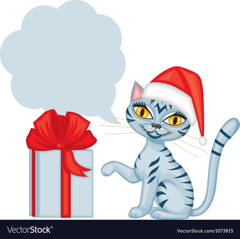 Tabby cat wishes Merry Christmas.