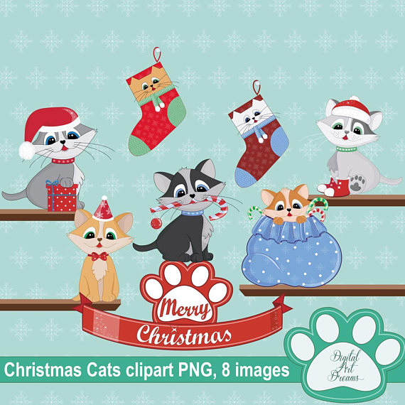Christmas Clipart, Cute Kitty Cat, Animal Graphics, Merry.