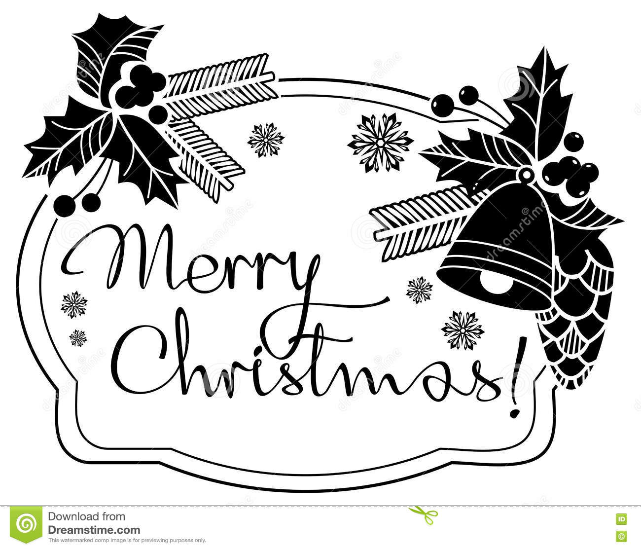 Christmas Label With Written Greeting `Merry Christmas.