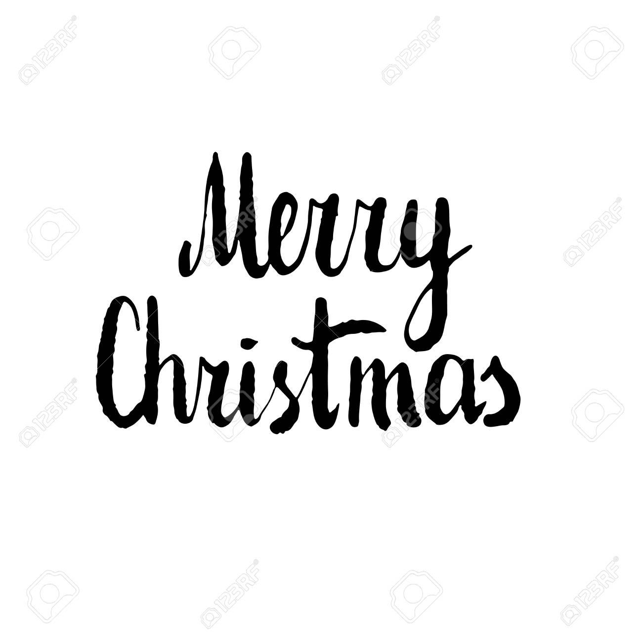 Merry Christmas. Hand drawn vector design element, black clip.
