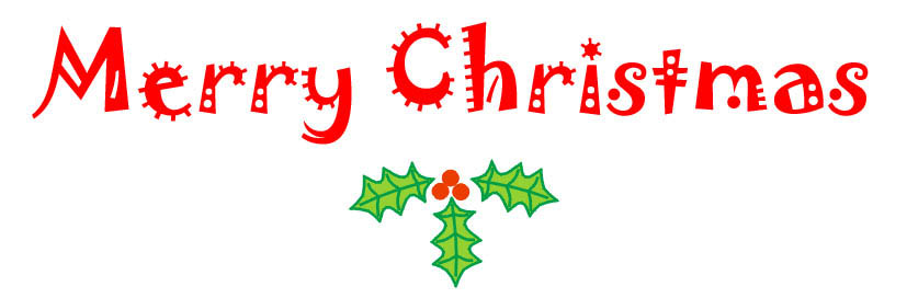 Free Merry Christmas clipart for your greetings card inserts.