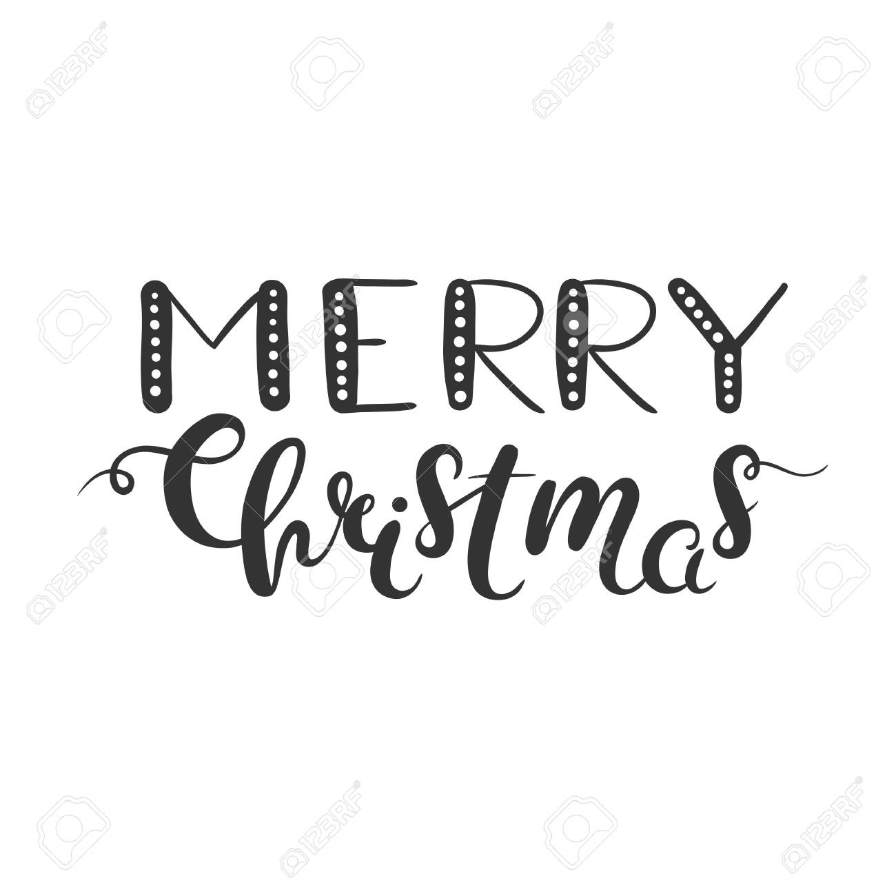 Merry Christmas lettering isolated on white. Christmas clipart...