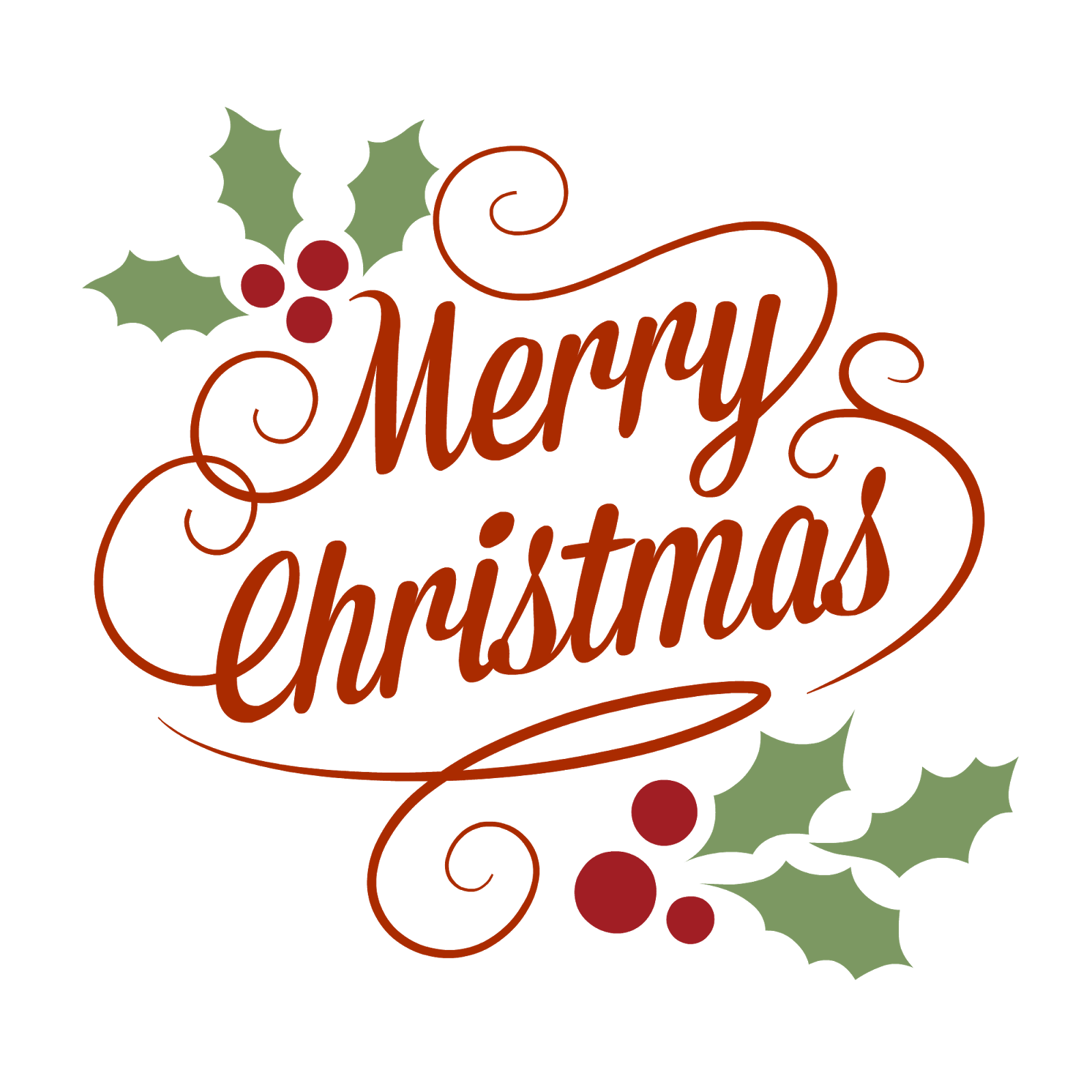 Transparent Background Vintage Merry Christmas Clipart.