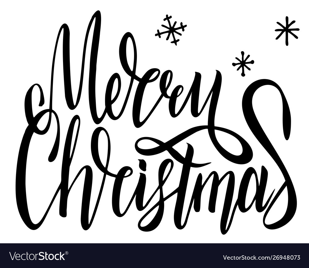 Merry christmas calligraphy font style banner.