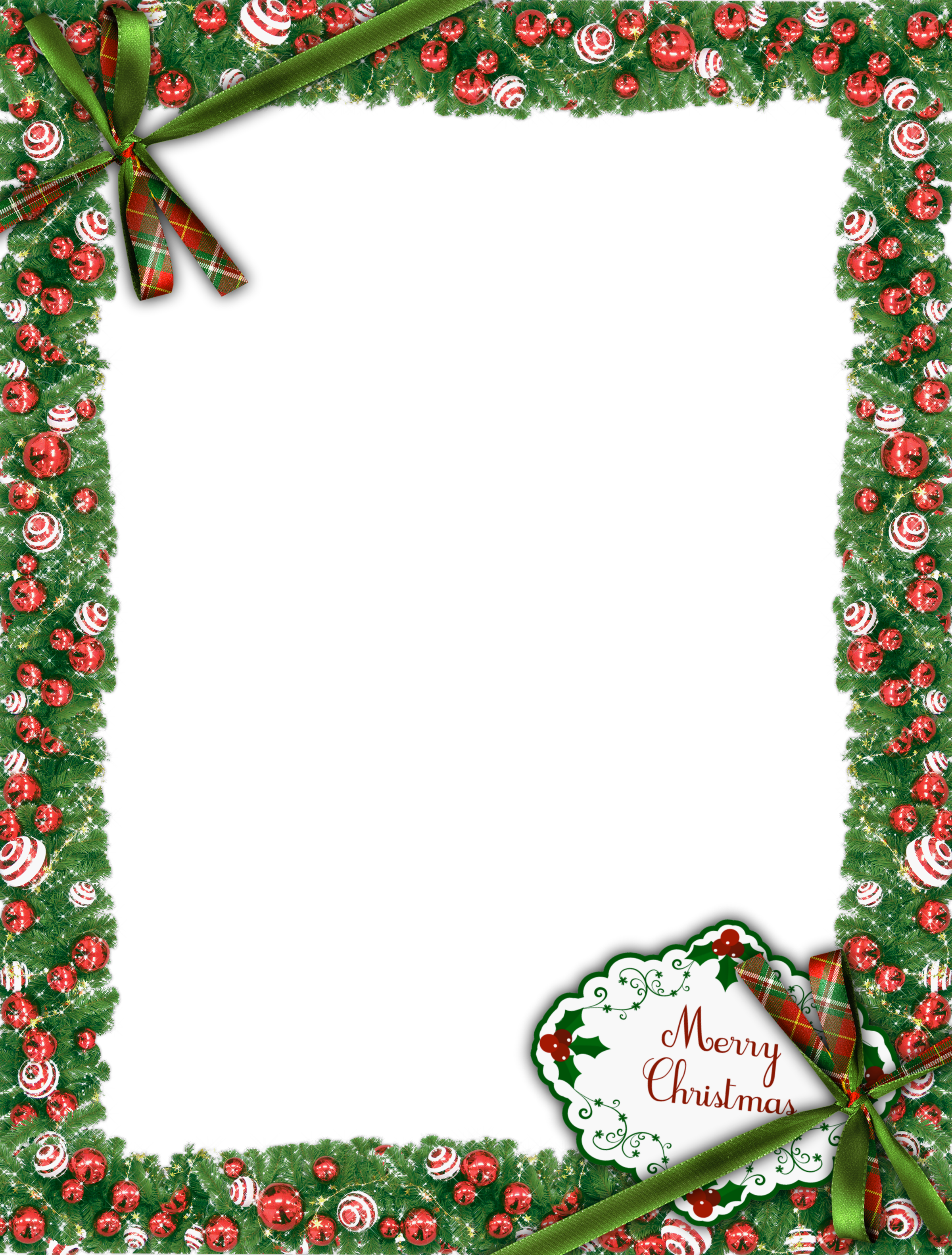 Merry Christmas Green PNG Photo Frame.