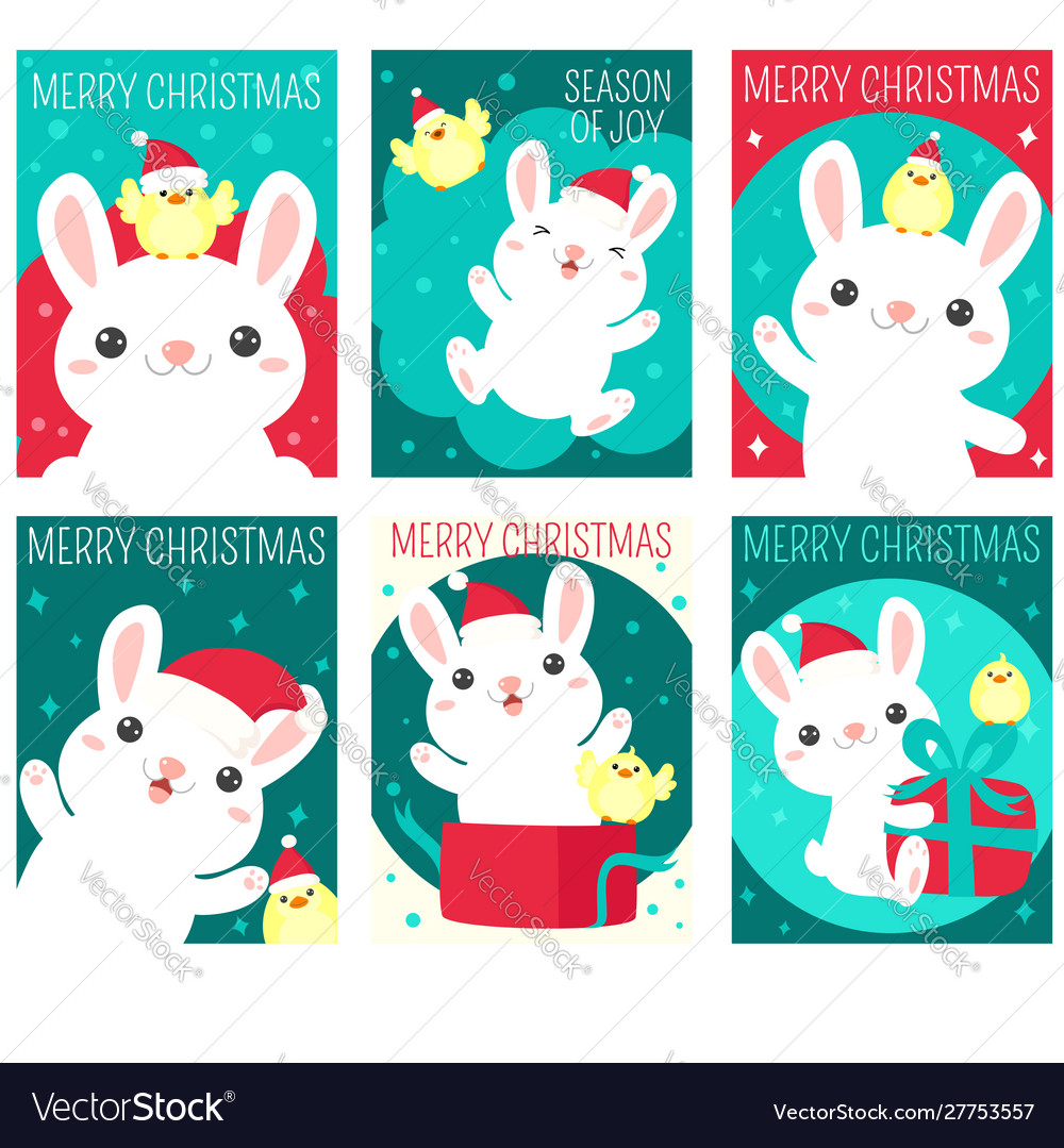 Set christmas gift tag card sticker with cute.