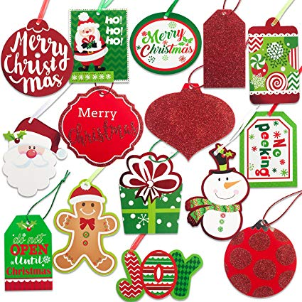 Christmas Gift Tags 60 Count with Untied String (15 Assorted Glitter, Foil,  printed designs for DIY Xmas Present Wrap and Label Package Name Card).