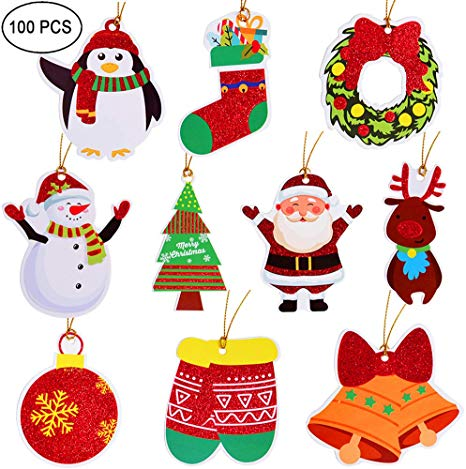 Christmas Gift Tags Tie On with String 100 Count for Merry Christmas  Holiday Gift Bags Party Supplies.