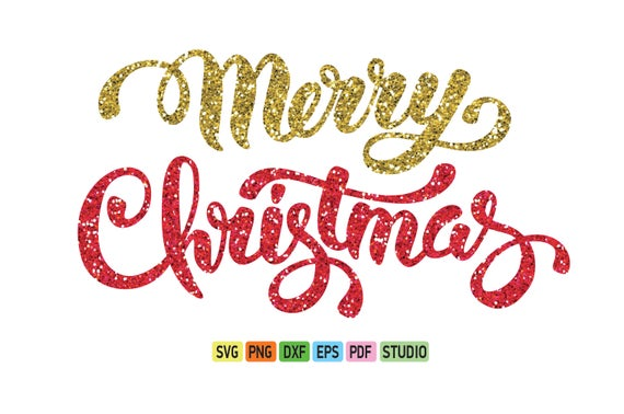 Merry Christmas Glitter SVG, Christmas SVG file, Christmas clipart,  Printable quote, Printable wall art, Hand lettered svg, Christmas quote.