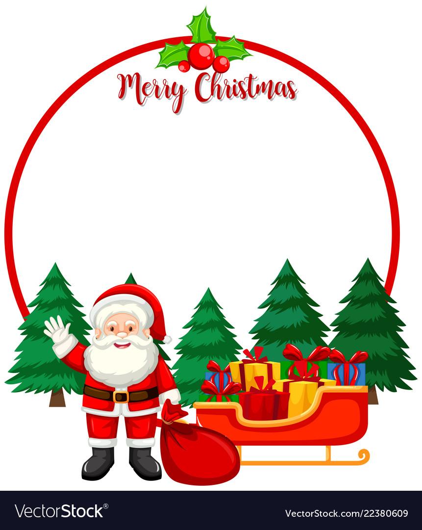 Merry christmas card with santa.