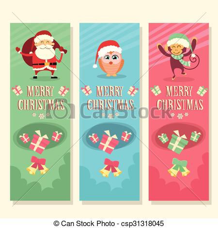 EPS Vector of Merry Christmas Vertical Banner Greeting Card and.
