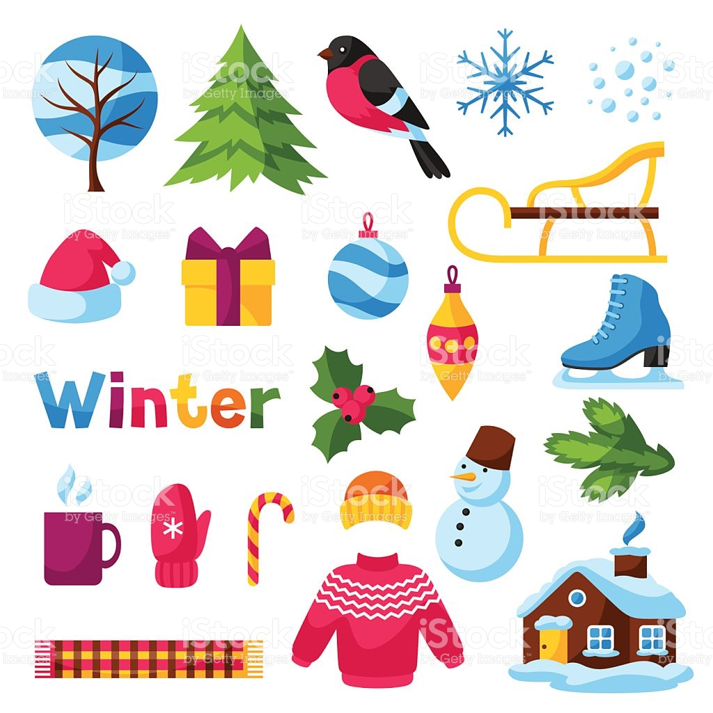 Set Of Winter Objects Merry Christmas Happy New Year Holiday stock.