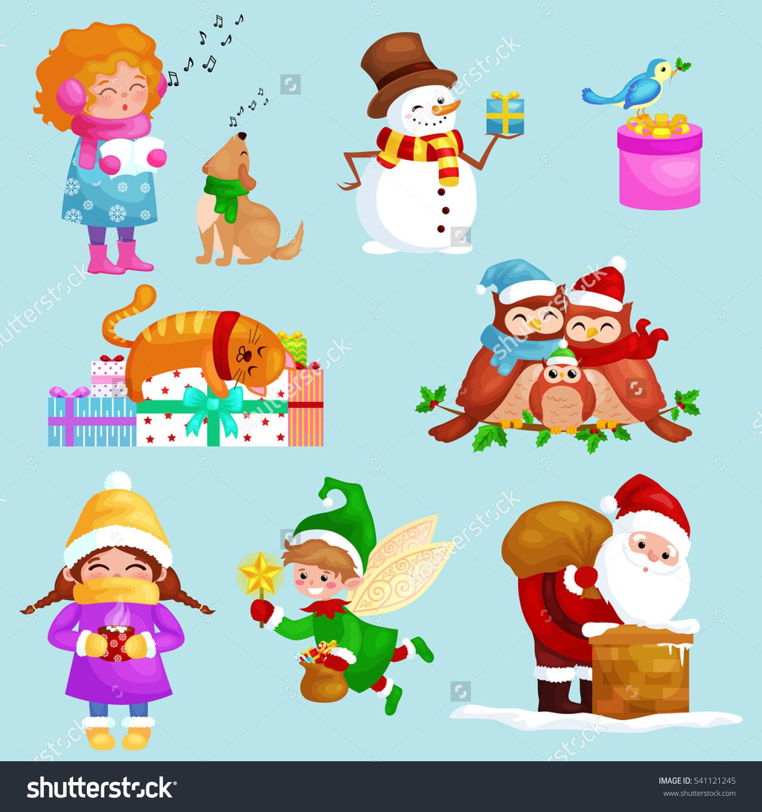 Illustrations Set Merry Christmas Happy New Stock Illustration.