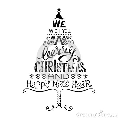 Merry christmas and happy new year clipart black and white.