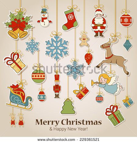 Merry Christmas Happy New Year Sticker Stock Vector 229361521.
