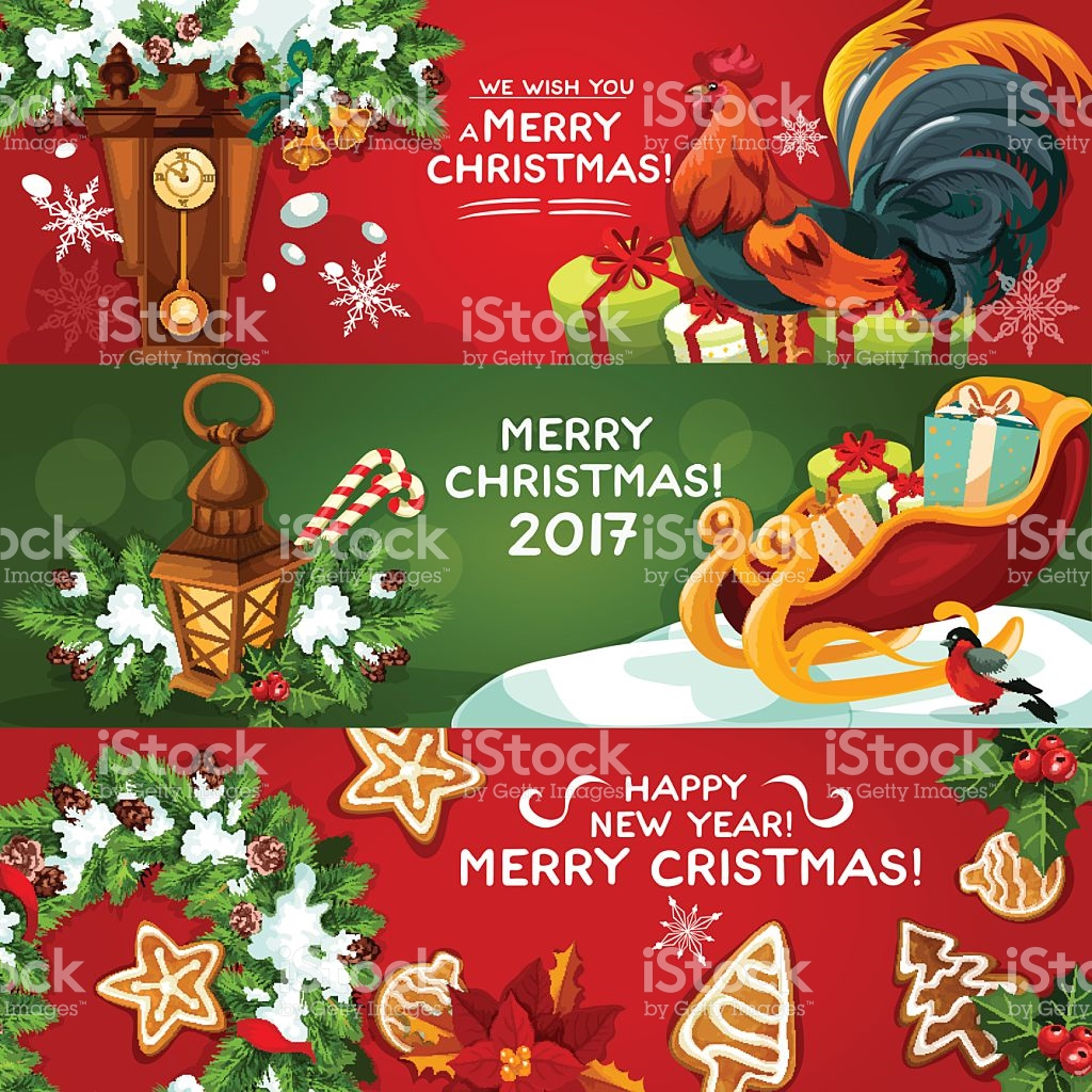 Merry Christmas And Happy New Year Banner Set stock vector art.