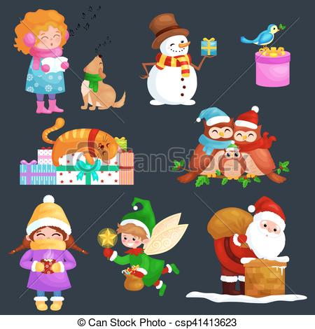 Vector Illustration of illustrations set Merry Christmas Happy new.