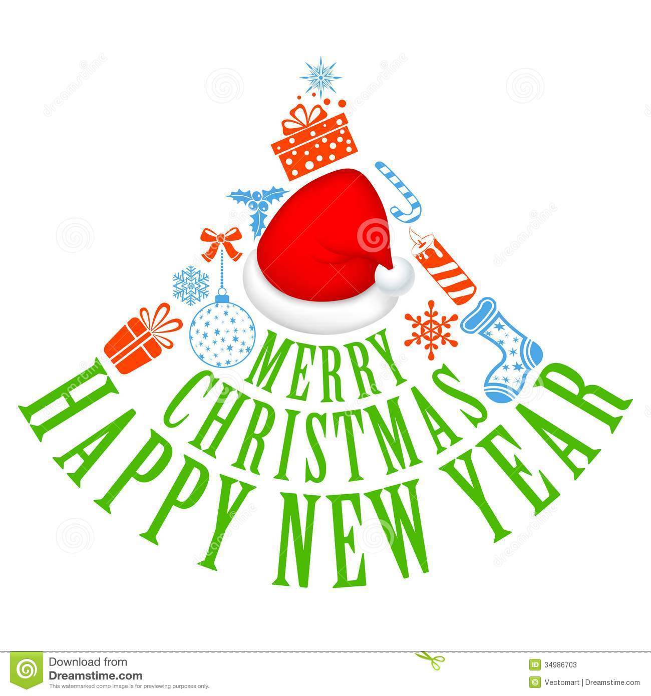 Merry Christmas Happy New Year Clip Art.