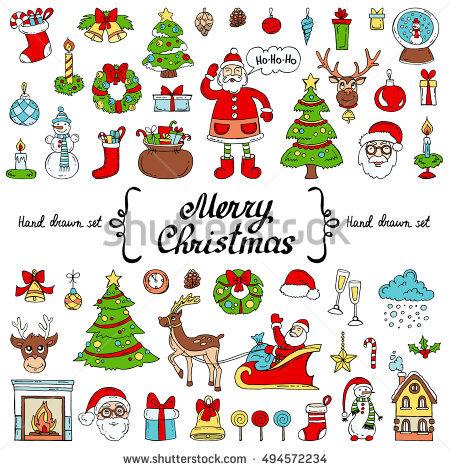 Set Flat Christmas Happy New Year Stock Vector 334015049.
