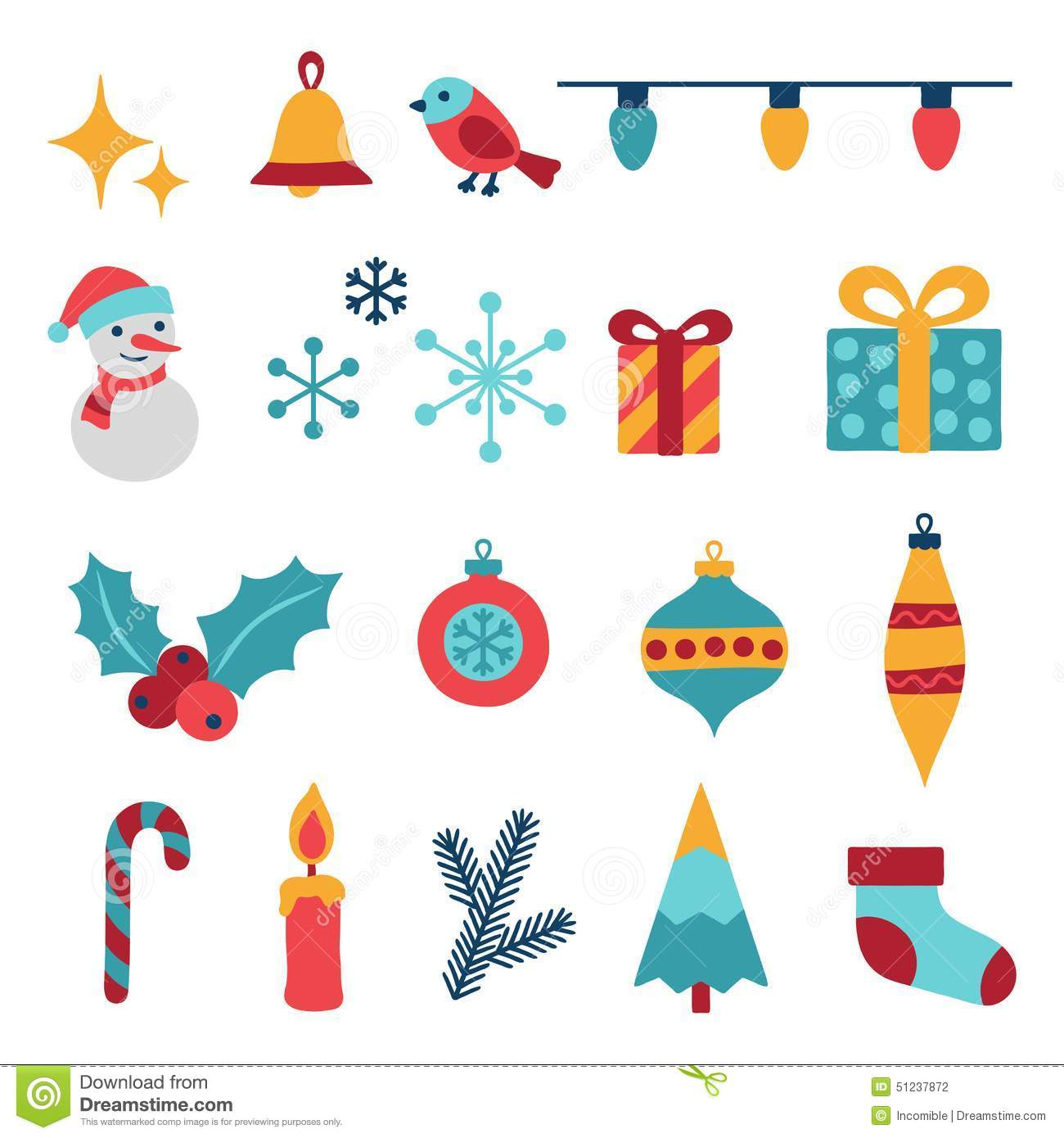 Set Of Merry Christmas And Happy New Year Icons Stock Vector.