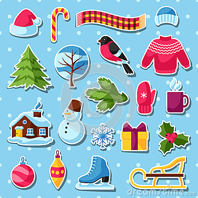 Set Of Winter Stickers. Merry Christmas, Happy New Year Holiday.