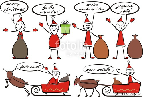 santa claus and merry christmas in different languages.