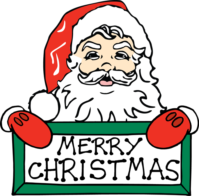 Merry Christmas ClipArt by Santa for Kids.