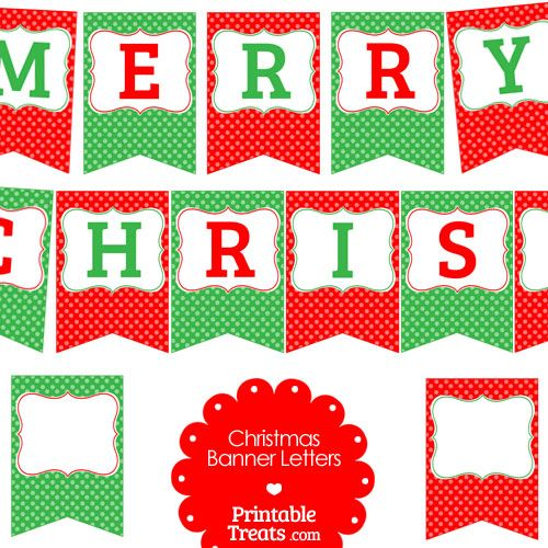 Free Merry Christmas Polka Dot Banner Letters from.