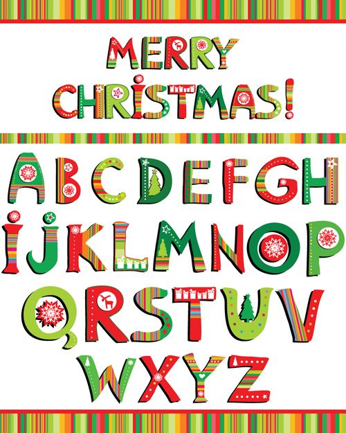 Christmas alphabet letters design vector set 02.