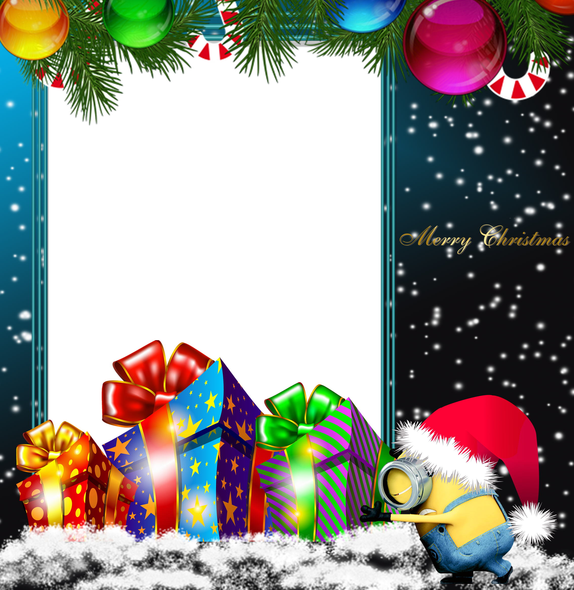 Merry Christmas PNG Minion Photo Frame.