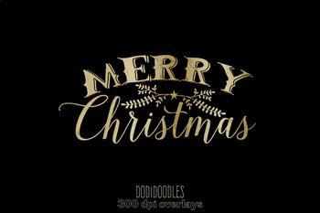 Gold Merry Christmas Clipart, Christmas Overlays.